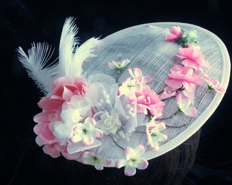 Beige sinamay rococo hat with pink and white decoration. Steampunk. Victorian. Edwardian. Lolita