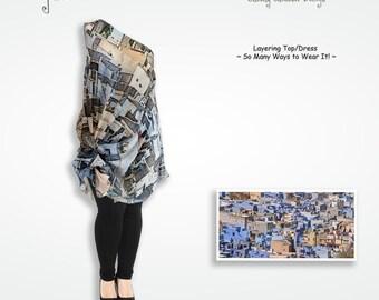 Blue gray Jodpur graphic silk loose fitting dress, asymmetrical tunic beach dress, cover up dress, summer dresses for women, oversized dress