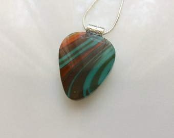 Guitar Pick Pendant, Fused Glass Jewelry, Turquoise Brown Orange Guitar Pick Necklace