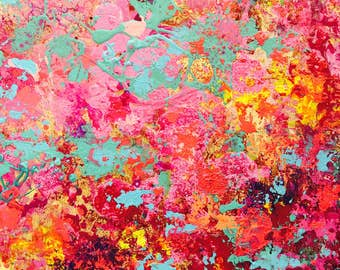 Abstract, original small painting SARI, The colors of India.