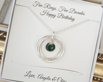 50th Birthday gift for wife, Emerald birthstone necklace, May birthstone necklace, 50th Birthday gift for women,5th Anniversary gift for her