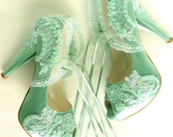 Wedding Shoes - Sage green Embroidered Lace Bridal Shoes