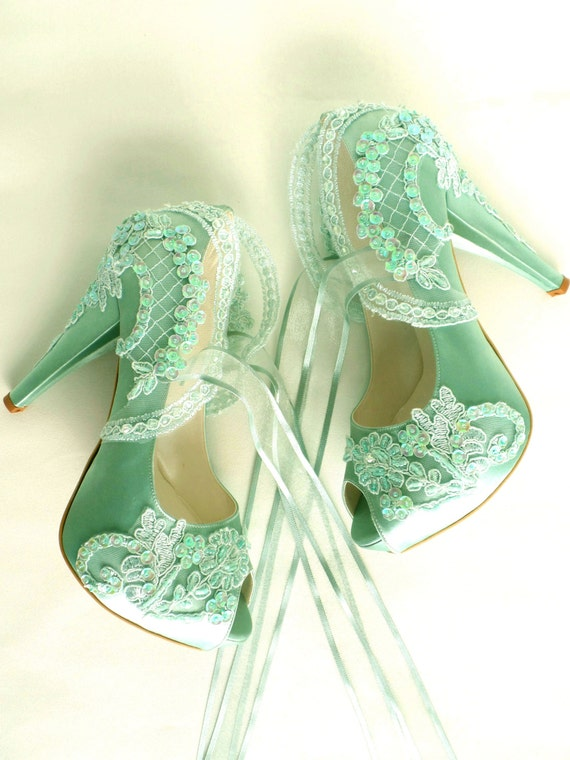 Wedding Shoes Sage Green Embroidered Lace Bridal Shoes
