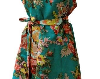 Floral Wedding  Dress Teal, Bridesmaid Dress, Vintage Style Wedding  Gift Dress, Wedding Gift Idea, Dress short, knee length dress
