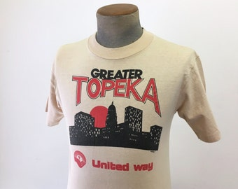 1980 Vintage Greater TOPEKA T-Shirt Men's Vintage Tan Brown United Way Hanes Beefy-T T Shirt - Size SMALL