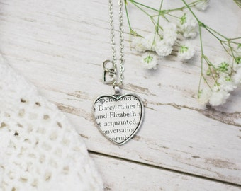 Pride and Prejudice Elizabeth Bennet and Mr Darcy Heart Shaped Antiqued Bronze Book Page Necklace