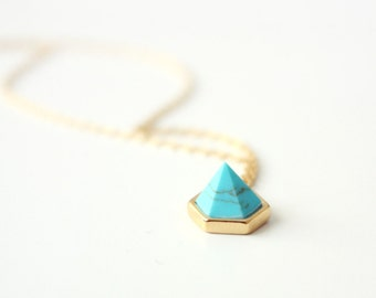 turquoise peak - delicate, minimalist, modern bohemian necklace / gift for her