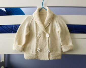 Hand knitted double breasted cream baby jacket | shawl collar wool coat | boy or girl 12 - 18 months