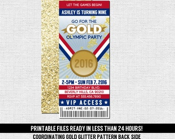 OLYMPICS TICKET INVITATIONS Gold Medal Gymnastics Birthday Party - Any Age - (print your own) Personalized Printable Files - Olympic Games