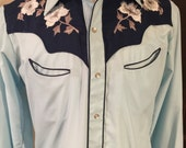 Men's vintage blue western shirt - Small