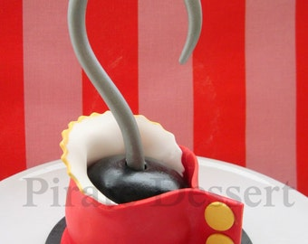 Edible Pirate CAKE TOPPER Captain Hook Pirate hook  -  Fondant cake topper, Peter Pan - Neverland - Pirate cake decoration (1 pieces)