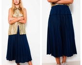 ultra full COMME DES GARCONS 90's indigo pleated midi skirt Made In France