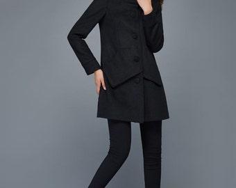 hooded coat, black wool coat, streetwear hooded coat, luxury woman's coat, button coat C978