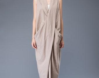 Khaki linen dress, split dress, loose maxi dress, long dress, party dress, womens dresses, formal dress, summer dress, sleeveless dress C937