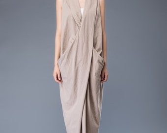 Linen dress maxi dress loose dress C937