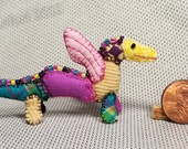 Mini Patchwork Dragon No. 26 - Dollhouse Miniature Stuffed Animal - Artisan OOAK