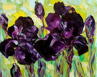 Iris Art Small Oil Painting Purple Flower Textured Impasto Knife Mini Small Canvas Framed or Unframed Option Gift for Her 6x6