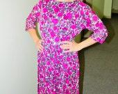 50s Dress - Giselle - Medium - 1950s Floral Dress - Full Skirt