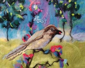 Bird Textile Art To Frame Wet Felted Bird Painting Handmade Original Textile Art made in UK - Bird and Blossoms