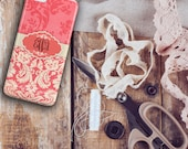 Gifts for her, Monogram Iphone 6 case, Womens Iphone 5c case, Floral Iphone 6s case, Pretty Iphone 5s case Distressed pink red damask (9666P