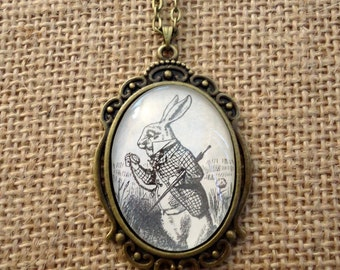 Alice in Wonderland White Rabbit Book Page Necklace