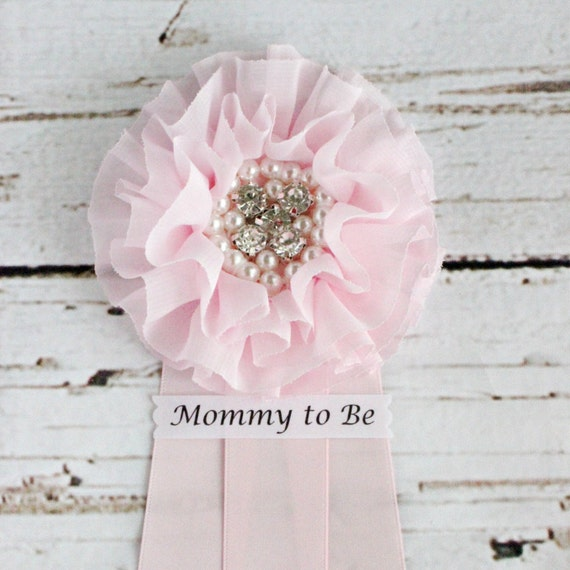 pink baby shower corsage mommy to be grandma to be pin badge ribbon