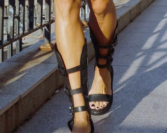 """NEW Collection SS/17 Black Genuine Leather Flat Unique Summer Sandals / Sexy Extravagant """"Must Have"""" All seasons Shoes by Aakasha A26444"""