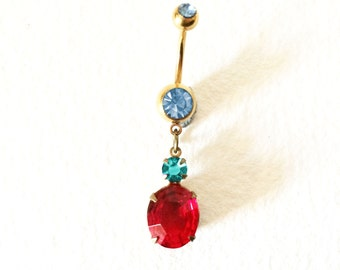 crystal belly ring, Belly ring dangle, Swarovski,red,blue, GOLD,belly ring button jewelry, Belly button ring, bellybutton ring,belly ring
