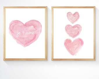 je t'aime Print, 8x10 Set, Pink Nursery Art, French Nursery, Watercolor Art Print, Pink Nursery Decor, I Love You, French Quote, Pink Heart