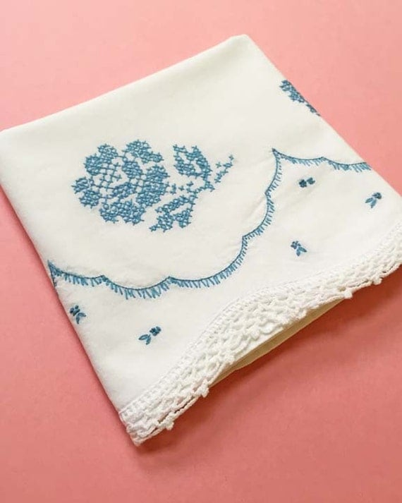 Vintage Pillow Case with Teal Embriodery