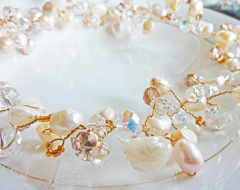 Pale Pink and Ivory Wire Twisted Pearls and Crystal Wreath Necklace