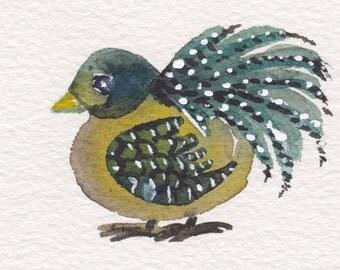 Bird ORIGINAL ACEO  Watercolor Painting, Pretty Bird OOAK, Small Gift, Scrap Booking, Card Making, Blue Olive Teal, Bird Watercolor Painting