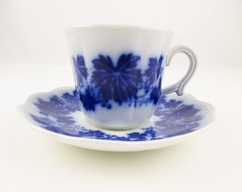 Vinranka Made in Sweden by Gefle - 'Percy' Pattern Antique Flow Blue Cup and Saucer - Porcelain Cup and Saucer