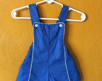 Vintage blue baby romper/ sun suit , summer suit/ retro beach wear/ vintage baby clothes size 3M
