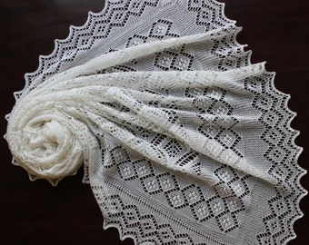 Lace baby blanket, handknit christening heirloom baby shawl, Estonian lace