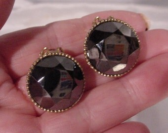 Beautiful Black Glass Earrings Clip-ons Stones with Facets Wow
