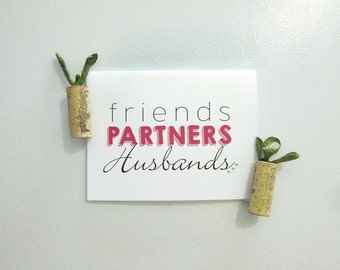 Friends, Partners, Husbands - Marriage Equality Wedding Congrats Card with silver studs