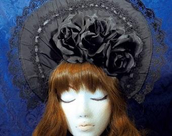 Gothic Lolita Bonnet black classic lolita rose lace trim