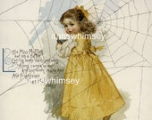 "Little Girl's Room Art, Maud Humphrey RESTORED ""Little Miss Muffett"" From Early 1900s Print #315"