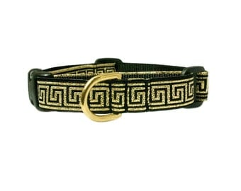 """Greek Key 5/8"""" or 3/4"""" Black Dog Collar"""