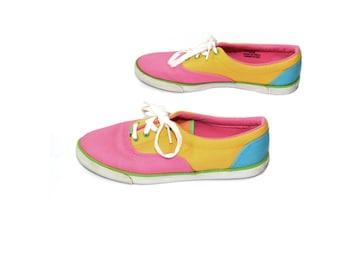 Color Block Tennis Shoes Neon Sneakers Canvas Sneakers Canvas Sneakers 80s Neon Shoes Size 8