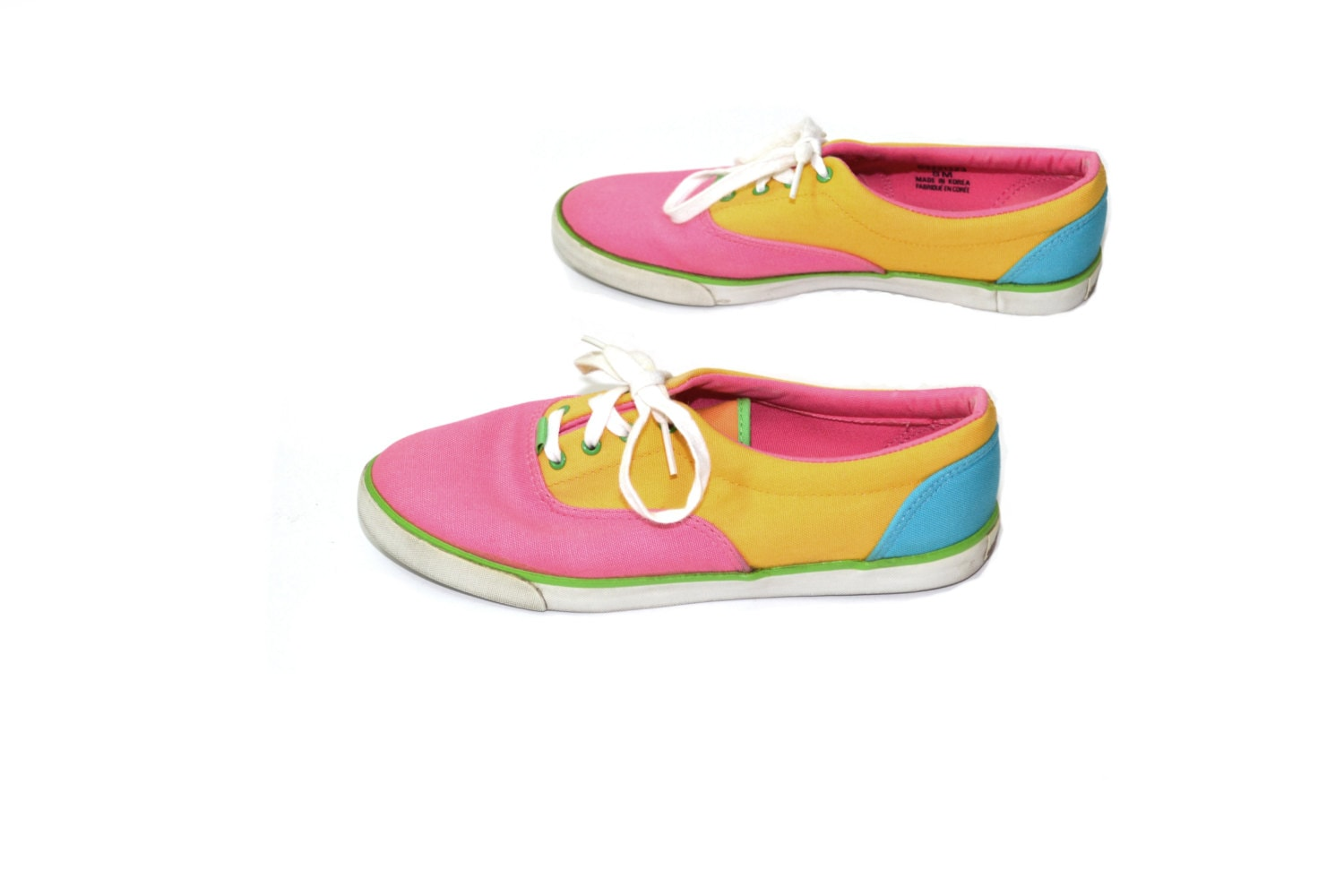 color block tennis shoes neon sneakers canvas sneakers canvas