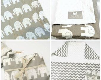 Elephant Minky, Elephant Blanket, Personalized Baby Blanket, Baby Blanket, Crib Blanket, Moses Blanket, Stroller Blanket, 3 Sizes.