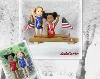 "Team USA -- Balance Beam, USA Leotards and Medals --14"" WW Dolls"