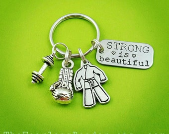 Strong is Beautiful Keychain, Choose Your Charm, Boxing Glove, Gi, Weight Plate, Kettlebell, Dumbbell, BJJ Keychain, Boxing Keychain, Gym