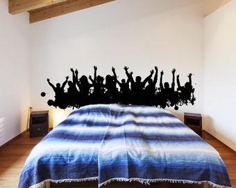 Cheering People Concert Band Crowd Silhouette Wall Decal Art Decor