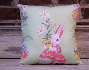 Vintage Easter Bunny Hankie Pillow with Quilt Backing