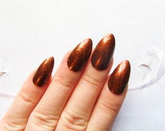 Coffee Shimmer Stiletto Nails, Fake Nails, False Nails, Acrylic Nails, Press on Nails, Brown, Nails