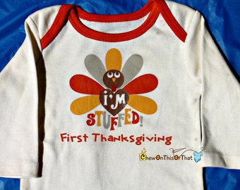 I'm Stuffed - Baby Name First Thanksgiving Onesie, Personalized Bodysuit, Top, Outfit, Shirt