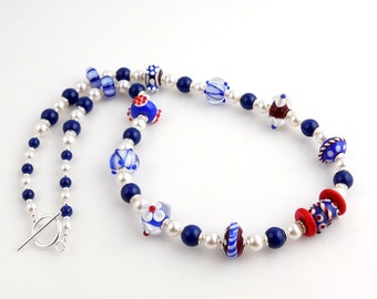 Red White and Blue Patriotic Lampwork Art Glass Necklace, Beaded Necklace, Glass Bead Necklace, July Fourth, Nautical Necklace, USA